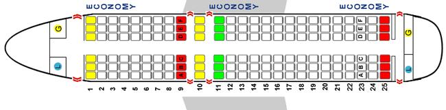 Схема салона Аэробус 319 на 150 человек