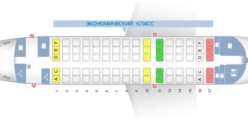 Компоновка салона в самолете RRJ 100