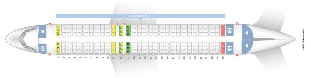 Схема салона Airbus А320 (одноклассовая компоновка)