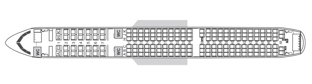 Планировка салона самолета Аэробус 321 Air Astana